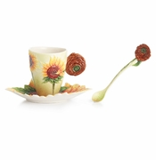 Franz Collection Porcelain Van Gogh Sunflowers Cup & Saucer Set With Spoon