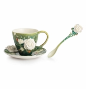 Franz Collection Porcelain Van Gogh White Roses Cup & Saucer Set With Spoon