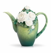 Franz Porcelain Collection Van Gogh White Roses Flower Teapot