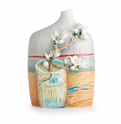 Franz Porcelain Collection Van Gogh Blossoming Almond Branch In A Glass Design Sculptured Porcelain Mid Size Vase