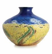Franz Porcelain Collection Van Gogh Wheatfield With Crows Design Sculptured Porcelain Mid Size Vase