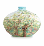 Franz Porcelain Collection Van Gogh White Orchard Design Sculptured Porcelain Mid Size Vase