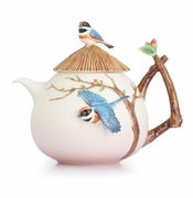 Franz Porcelain Collection Black-Throated Passerine Bird Design Sculptured Porcelain Teapot