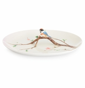 Franz Porcelain Collection Black-Throated Passerine Bird Design Sculptured Porcelain Large Tray