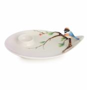 Franz Porcelain Collection Black-Throated Passerine Bird Design Sculptured Porcelain Dessert Plate
