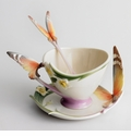 "Franz Collection ""Papillon"" Butterfly Cup, Saucer & Spoon Set"