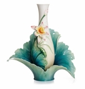 Franz Porcelain Collection Lotus Harmony Design Sculptured Porcelain Large Vase