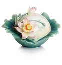 Franz Porcelain Collection Lotus Harmony Design Sculptured Porcelain Sugar Jar