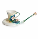 Franz Porcelain Collection Lotus Harmony Design Sculptured Porcelain Cup, Saucer & Spoon Set
