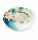 Franz Porcelain Collection Peaceful Lotus Sculptured Porcelain Tealite Holder