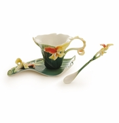 Franz Brilliant Blooms Canna Lily Flower Cup, Saucer & Spoon Set