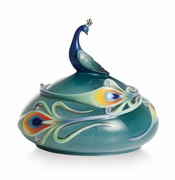 Franz Porcelain Collection Luminescence Magnificent Peacock Design Sculptured Porcelain Lidded Box