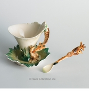 Franz Collection Jungle Beauties Cup, Saucer & Spoon Set Giraffe