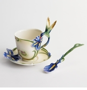 Franz Porcelain Collection Hummingbird Cup, Saucer & Spoon Set