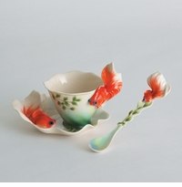 Franz Collection Goldfish Cup, Saucer & Spoon Set
