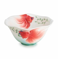 Franz Porcelain Collection Goldfish Design Sculptured Porcelain Ornamental Bowl