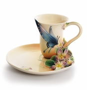 "Franz Collection ""Red Spotted Purple"" Butterfly Cup & Saucer Set"