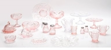 Mosser Glass Rose, Crown Tuscan & Passion Pink Glassware
