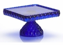 Mosser Glass Elizabeth Footed Cake Plate - Cobalt Blue