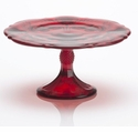 Mosser Glass Small Thistle Footed Cake Plate - Red