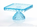 Mosser Glass Elizabeth Square Footed Cake Plate - Aqua