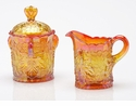 Mosser Glass Maple Leaf Sugar Bowl - Marigold
