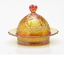Mosser Glass Maple Leaf Butter Dish - Marigold