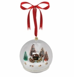 Mr Christmas Glass Santa Scene Musical Ornament