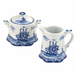 "Andrea by Sadek 4.5"" H Sugar & Creamer Blue Export"