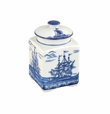 "Andrea by Sadek 5.5"" H Covered Tea Jar Blue Export"