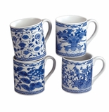 Andrea by Sadek Assorted Blue & White Porcelain Mugs (4)