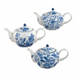 "Andrea by Sadek Assorted Blue & White Porcelain 8.25"" Teapots (3)"