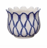 Andrea by Sadek Large Tulip Planter Blue in Bloom