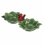 J. Willfred Ceramics Double Dish with Cardinal