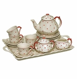 Andrea by Sadek Child's Tea Set with Tray Red Polka Dot