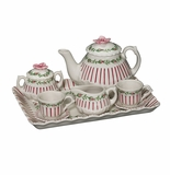 Andrea by Sadek Red Pinstripe Doll Teaset