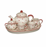Andrea by Sadek Child's Miniature Doll Teaset Red Polka Dots