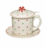 Andrea by Sadek Covered Tea Mug - Red Polka Dots