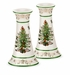 Spode Christmas Tree Gold Gold/Green Candlesticks, Medium Set (2)