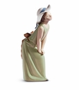 Lladro Curious Girl With Straw Hat Figurine