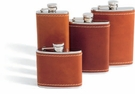 Concord 8 Oz. Whiskey Flask - Saddle Tan Leather
