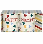 Emma Bridgewater Set of Two Polka Heart 1/2 Pint Mugs - Mummy and Daddy