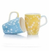 Blue & Yellow Blossoms 12 oz Mugs (4) by Hues & Brews