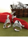 Mud Pie Deer, Santa or Tree Napkin Ring (Asst Designs)