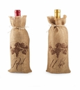 Mud Pie Burlap Wine Bag (Asst Designs)