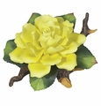 Andrea by Sadek Single Yellow Rose Branch Figurine