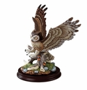 Andrea by Sadek Great Horned Owl Figurine on Wood Base