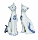"Andrea by Sadek 6"" H Pair of Cats Blue & White"