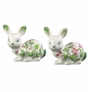 Andrea by Sadek Rabbit Figurines with Berries & Geraniums (2 Assorted)
