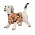 Labrador Dog with Plaid Coat Figurine